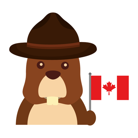 Beaver with hat and Canadian flag vector illustration design.