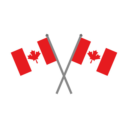 Canadian flags crossed icon vector illustration design.