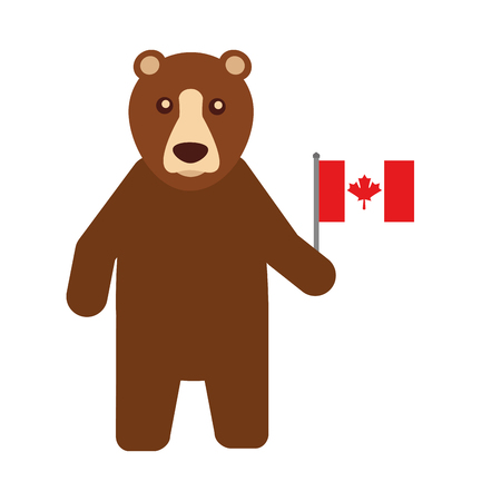 Grizzly bear with Canadian flag vector illustration design.