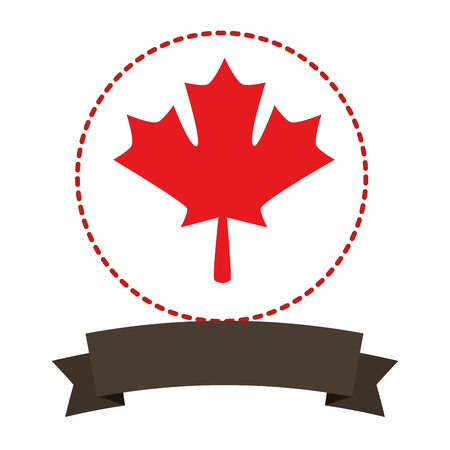 Maple leaf Canadian emblem with ribbon vector illustration design. Illustration