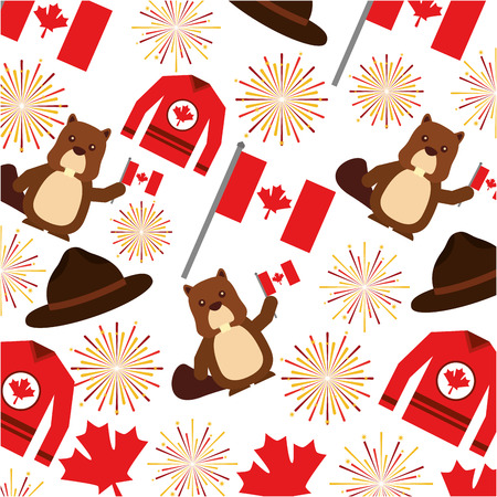 Canadian flag with fireworks and beaver pattern vector illustration design. Stock Illustratie