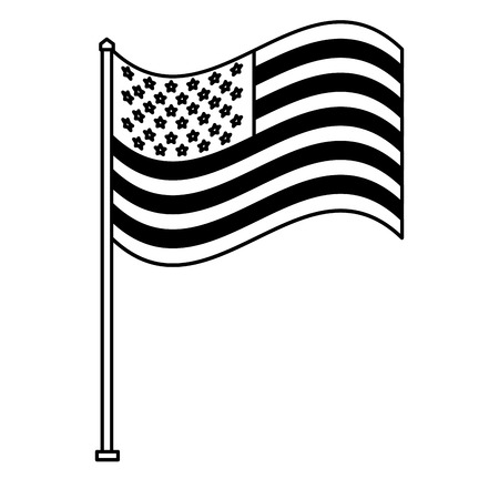 Unites state of america waving on flagpole vector illustration black and white.