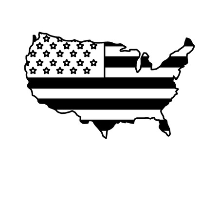 american flag on map country geographic vector illustration black and white