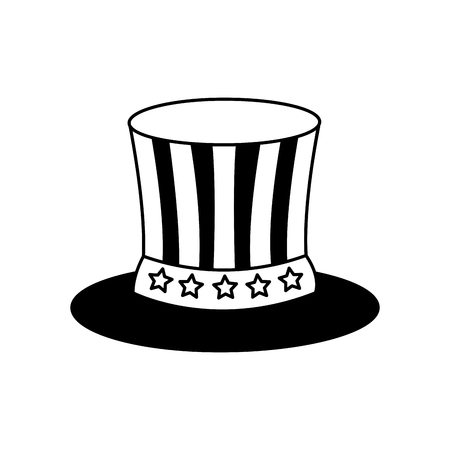 uncle sam top hat with flag united states usa vector illustration black and white Illustration
