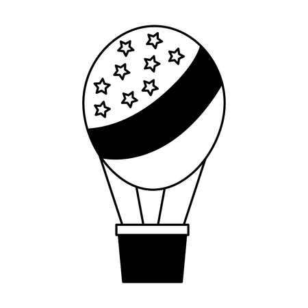 American flag on hot air balloon basket vector illustration black and white.  イラスト・ベクター素材