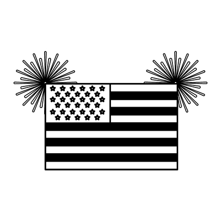 United state of america flag with fireworks vector illustration black and white.