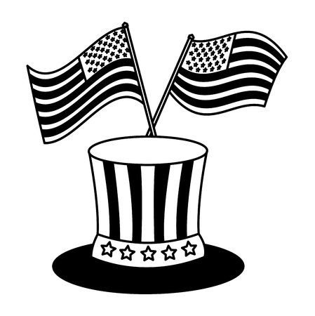 Gentleman hat and american flags national vector illustration black and white.