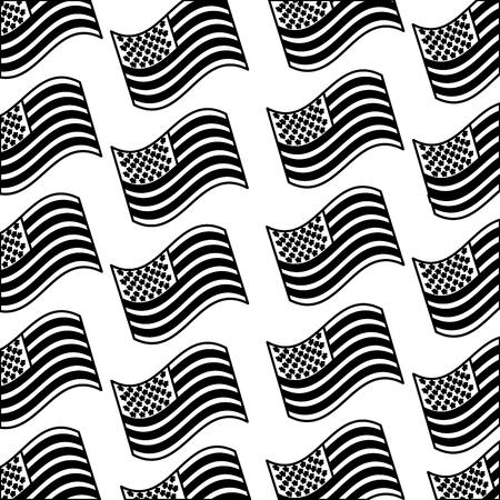 United states of america waving patriotic independence background vector illustration black and white. Ilustração