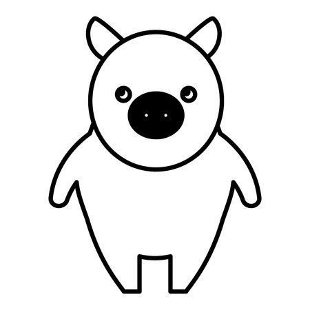 Standing piggy cute farm animal vector illustration black and white.