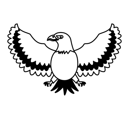 American eagle bird freedom national symbol vector illustration black and white.