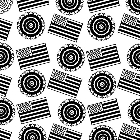 american flag and rosette ornament background vector illustration black and white