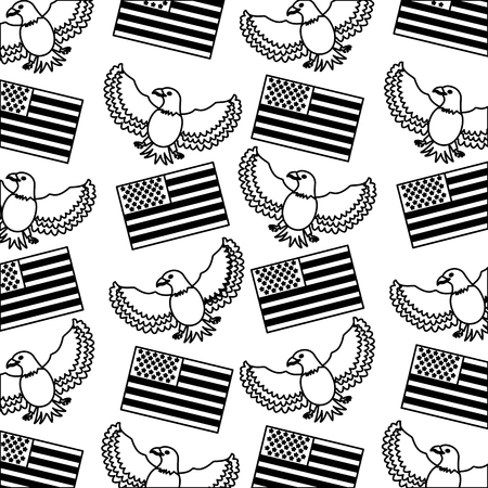 American flag and eagle bird background vector illustration black and white.