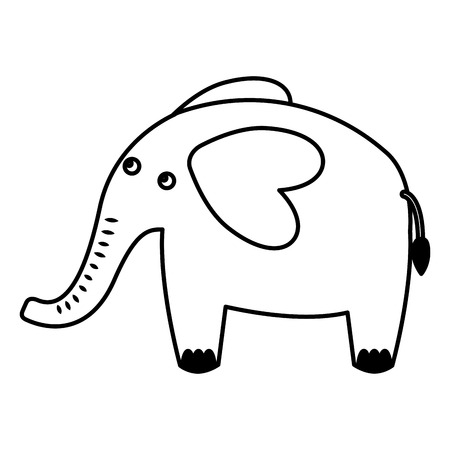 Cute elephant African animal image vector illustration black and white.