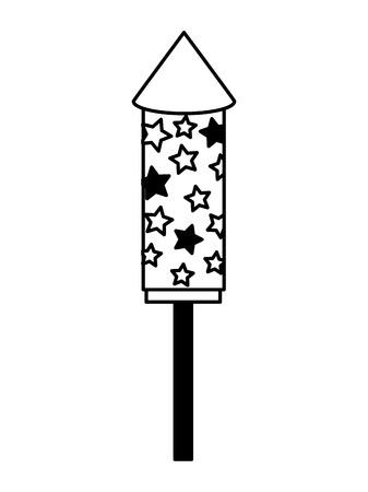 Rocket fireworks event festival celebration vector illustration black and white.
