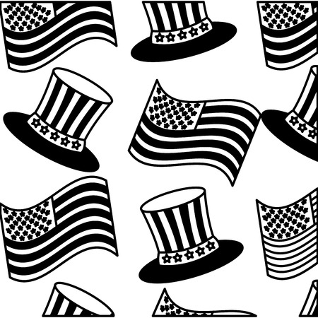 pattern american flag in top hat memorial symbol vector illustration black and white Illustration