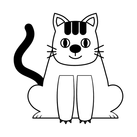 Sweet kitty sitting cartoon animal patch vector illustration black and white.
