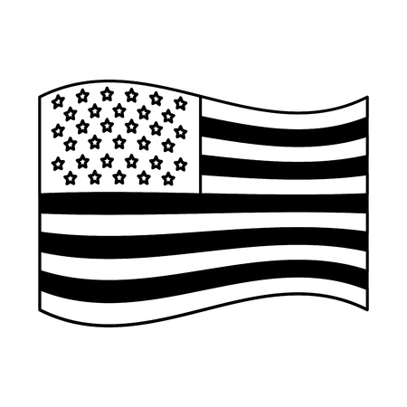 usa flag official proportion national vector illustration black and white