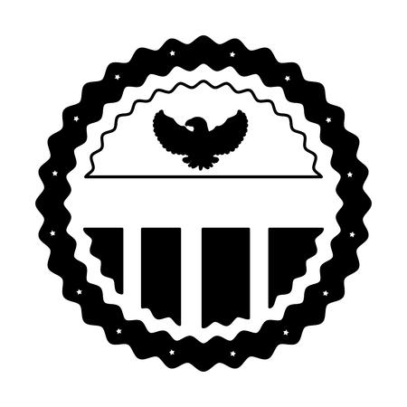 Vintage label american flag eagle ornament vector illustration black and white. Illusztráció