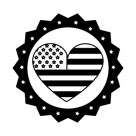 Vintage label american flag heart ornament vector illustration black and white. Stock fotó - 98776423