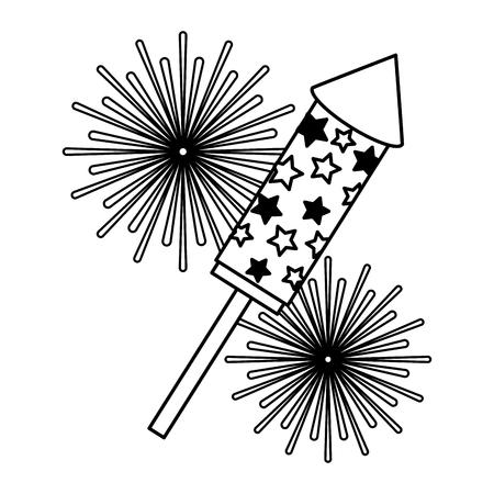 Rocket fireworks event festival explosions vector illustration black and white.