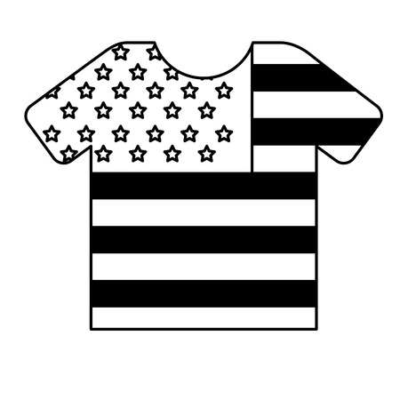 Sport t-shirt with american flag vector illustration black and white.