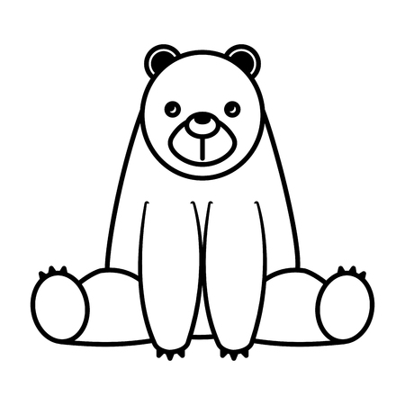 Cute bear sit in the floor cartoon vector illustration black and white.