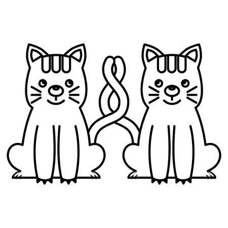 Two cute cats sit with tails crossed vector illustration black and white.