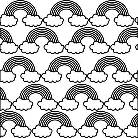 Cute rainbow clod magic fantasy background vector illustration black and white.