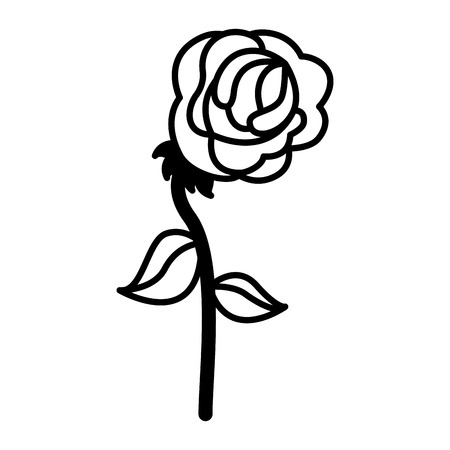 flower rose stem leaves decoration vector illustration black and white