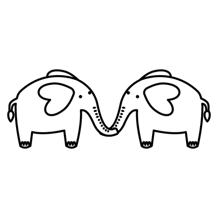 two elephants lovely animals image vector illustration black and white Illustration