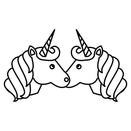 cute unicorns horned magic animal vector illustration black and white