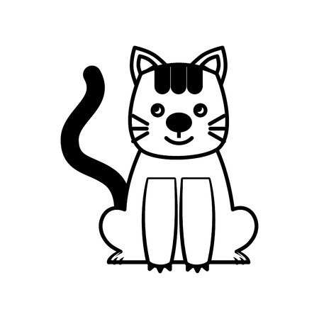 sweet kitty sitting cartoon animal patch vector illustration black and white Banco de Imagens - 98747453