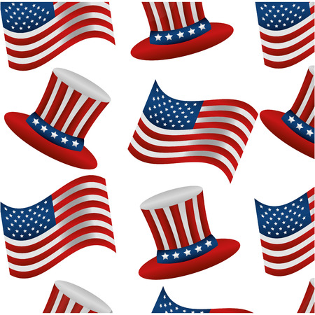 united states of america hats and flags pattern vector illustration design