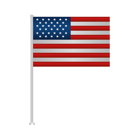 united states of america flag in pole vector illustration design