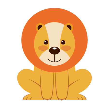 cute little lion animal icon vector illustration design