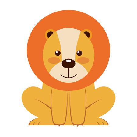 cute little lion animal icon vector illustration design