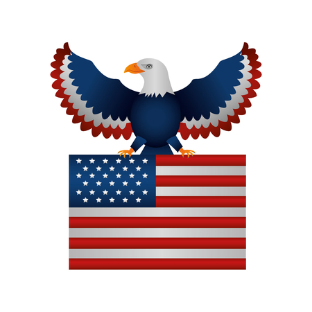 united states of america flag with eagle vector illustration design