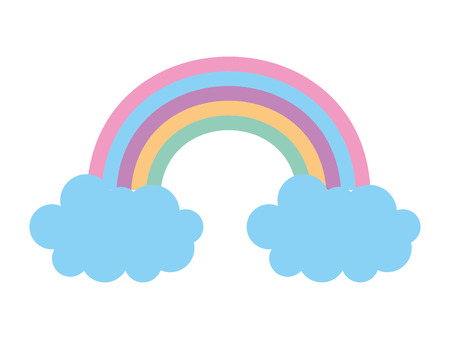 rainbow with clouds icon vector illustration design
