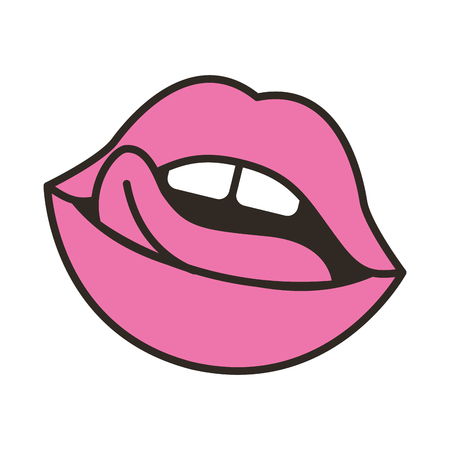 lips femenine with tongue icon vector illustration design