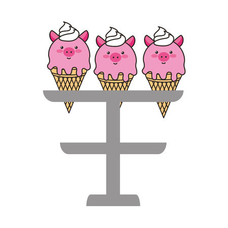 ice creams in cone with face pig vector illustration design