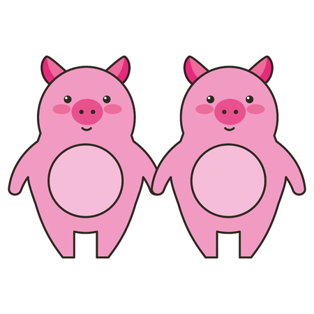 cute little pig couple vector illustration design