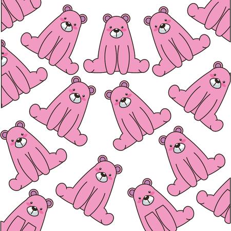 cute little bear pattern background vector illustration design 向量圖像