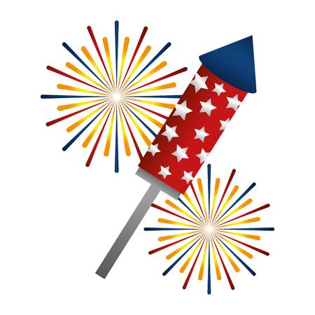 Diseño de ilustración de vector de icono de celebración de cohete de fuegos artificiales