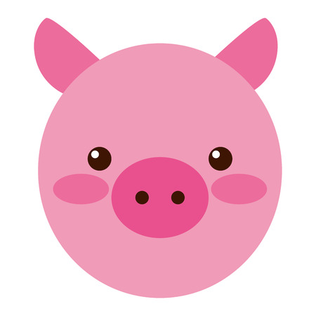 cute little pig head vector illustration design 일러스트