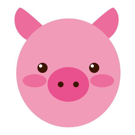 cute little pig head vector illustration design Vettoriali