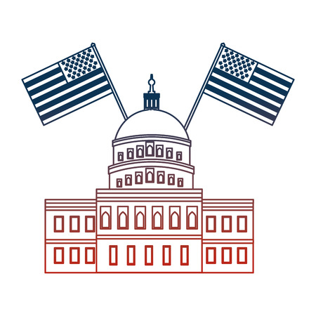 american parliament building with flags vector illustration design