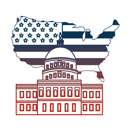 united states of america map with flag and the withe house vector illustration design Illustration