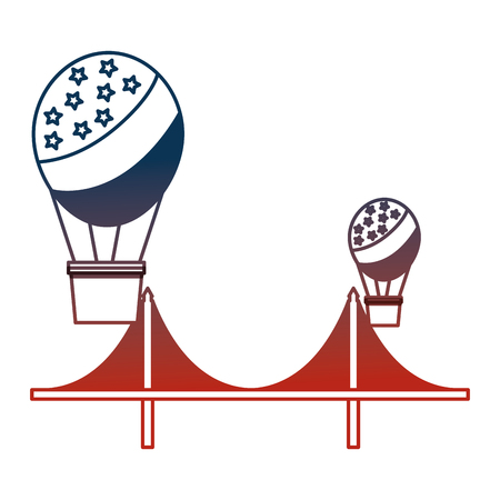balloons air hot flying with USA flag and bridge vector illustration design