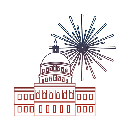 american parliament building with fireworks vector illustration design