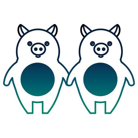cute little pig couple vector illustration design Stock Vector - 98879622